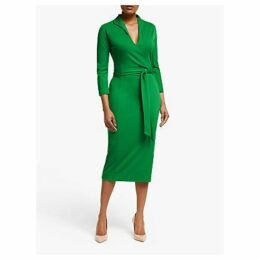 Winser London Wrap Over Pencil Dress, Emerald Green