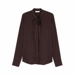 THE ROW Tipet Brown Crepe De Chine Shirt