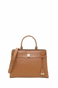 MICHAEL Michael Kors Gramercy Large Chain-embossed Leather Satchel