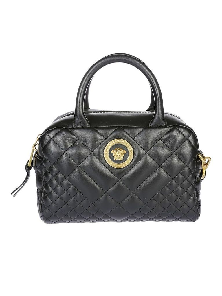 Versace Quilted Logo Plaque Tote