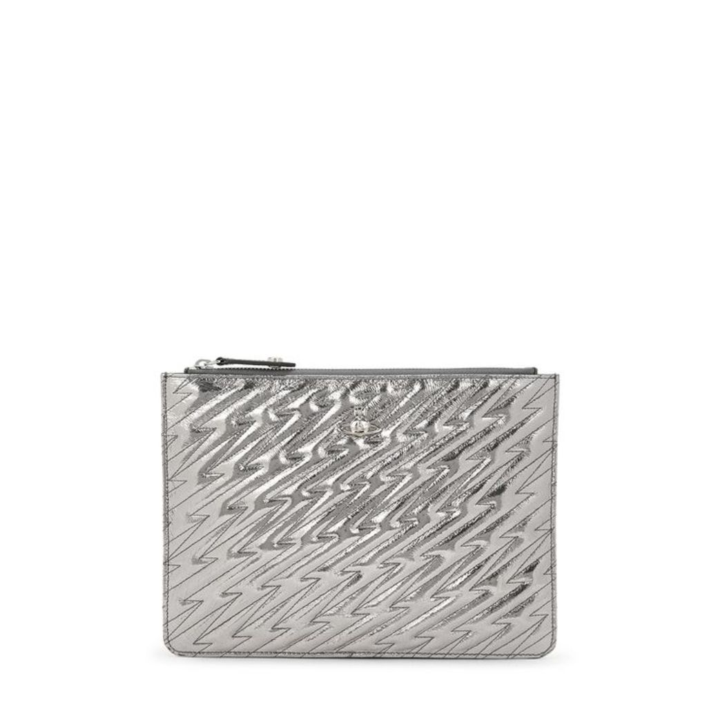 Vivienne Westwood Coventry Silver Leather Clutch