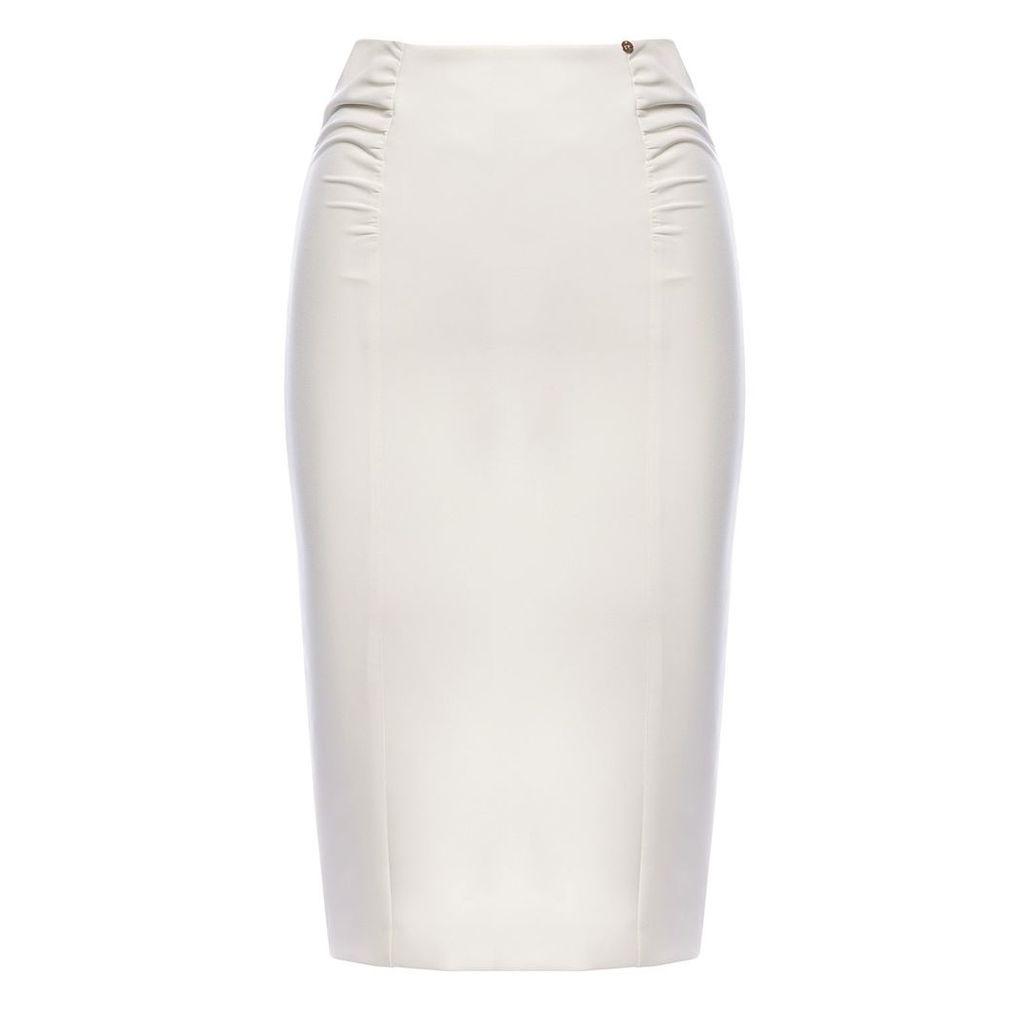 Nissa - Ruched Office Skirt White