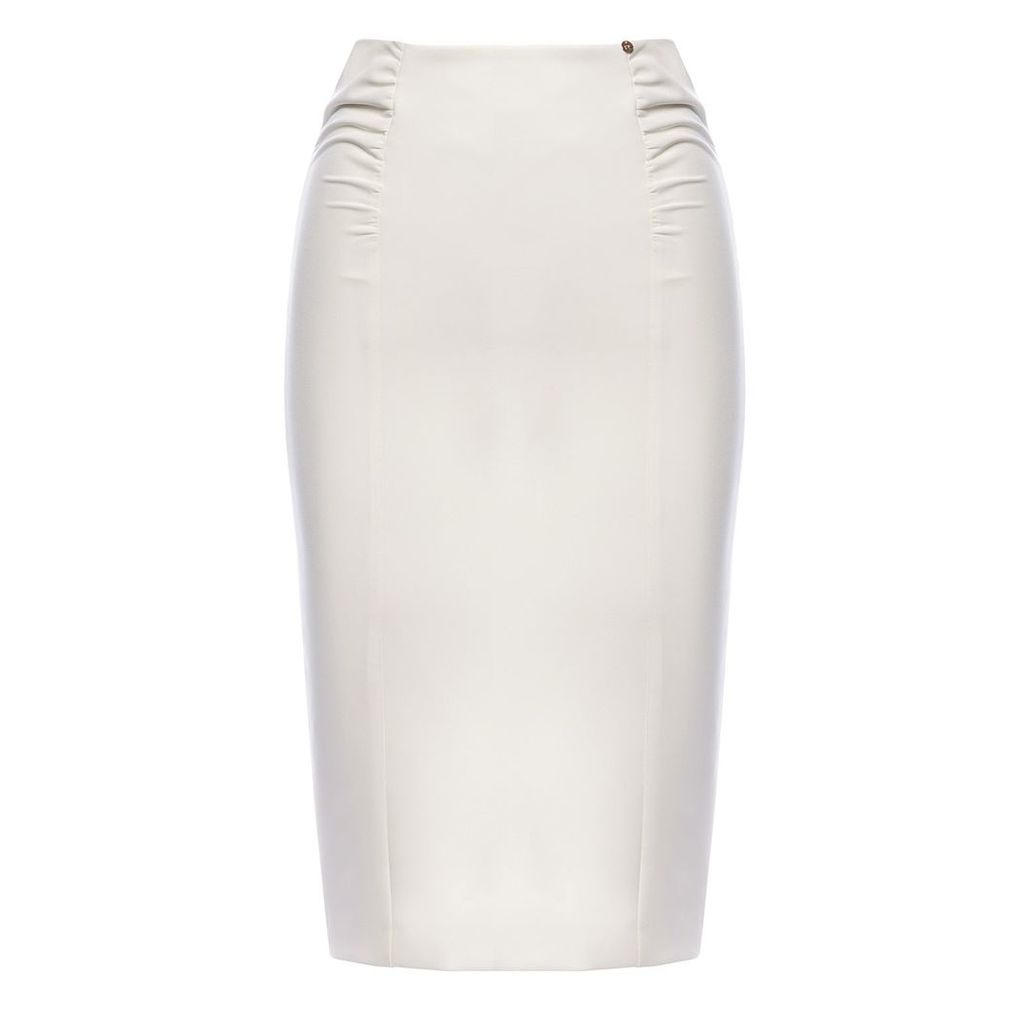 Nissa - Ruched Office Skirt White