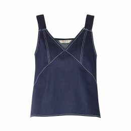 PAISIE - Denim Top With Contrast Stitching In Denim Dark Blue