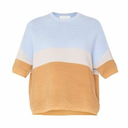 PAISIE - Three-Tone Short Sleeve Ribbed Jumper In Light Blue, Light Grey & Tan