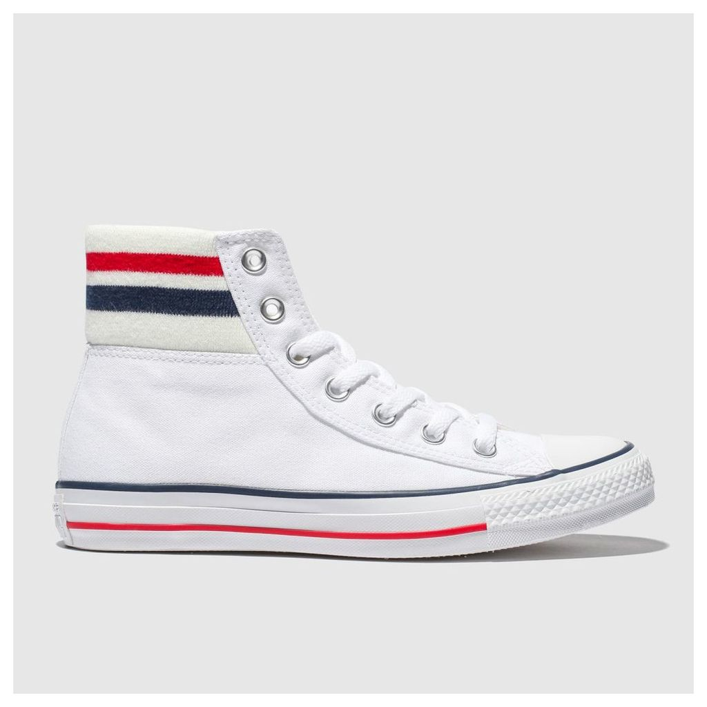 Converse White & Navy All Star 80s Cuffed Trainers