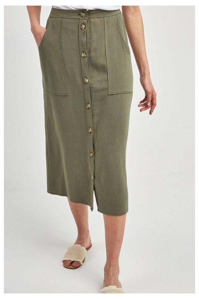 Womens Next Khaki Utility Pocket Button Midi Skirt -  Green