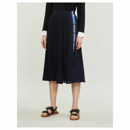 Striped-trim pleated crepe skirt