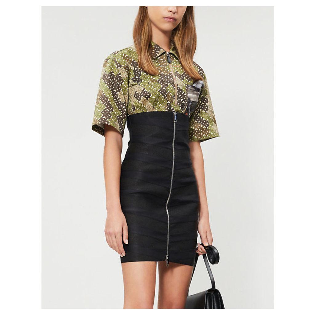 Bondage fitted satin skirt