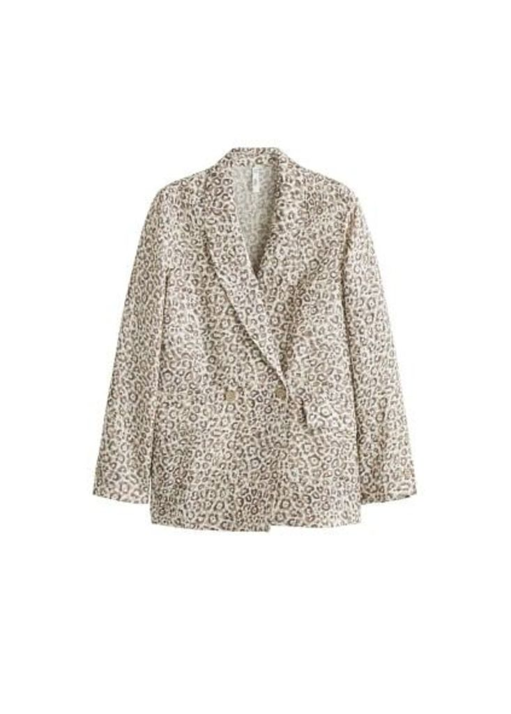 Leopard linen blazer