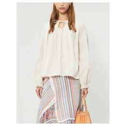 Keyhole-neck cotton-poplin top
