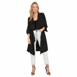 Pomme Rouge  Long trench coat  women's Trench Coat in Black