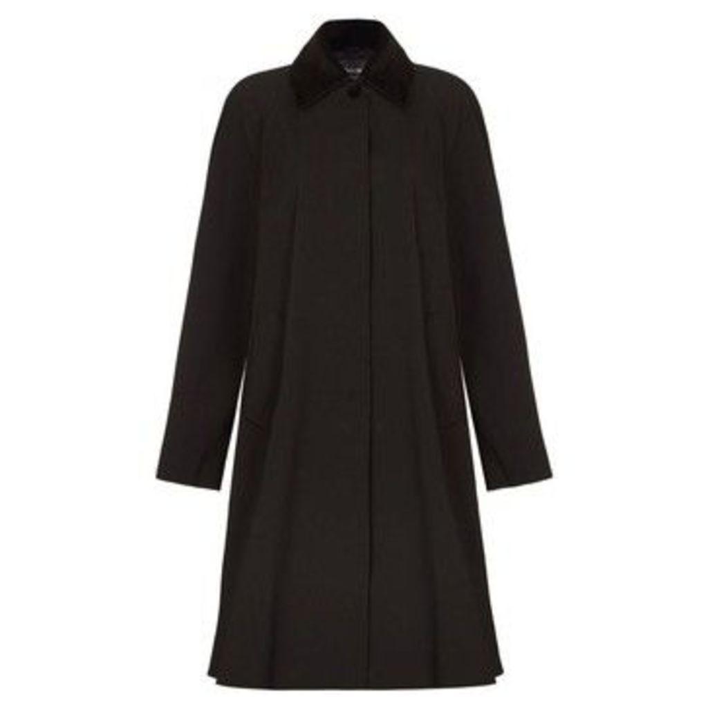 De La Creme  - Black Womens Swing Raincoat Velvet Collar  women's Trench Coat in Black