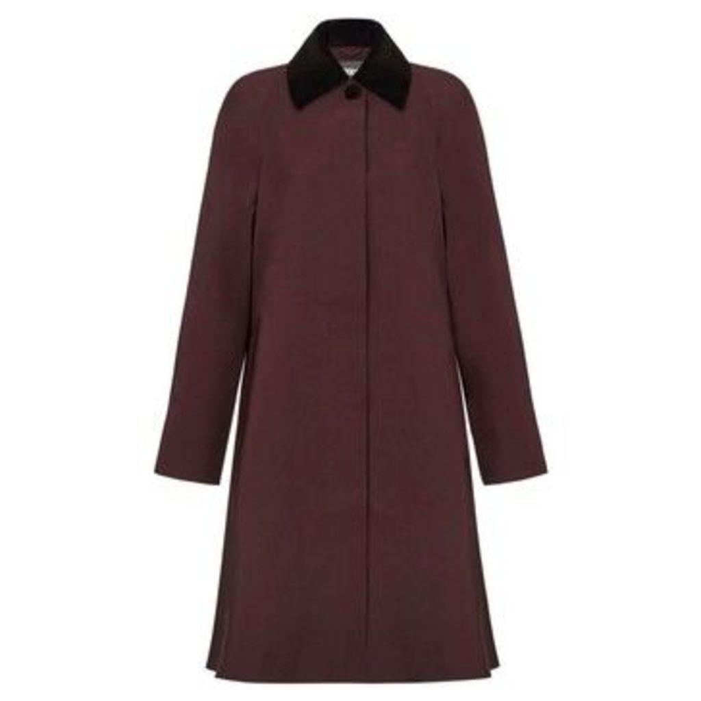 De La Creme  - Burgandy Womens Swing Raincoat Velvet Collar  women's Trench Coat in Red