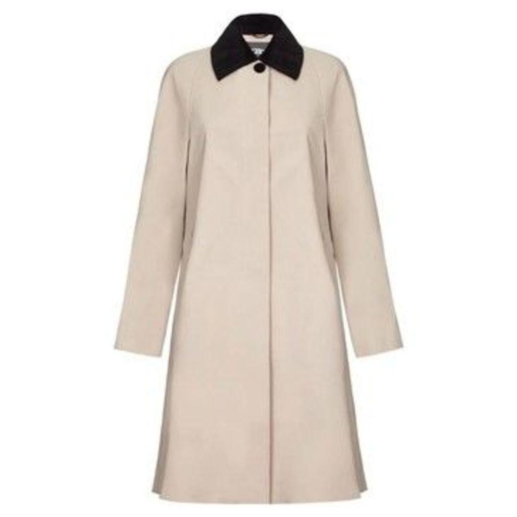 De La Creme  - Beige Womens Swing Raincoat Velvet Collar  women's Trench Coat in Beige