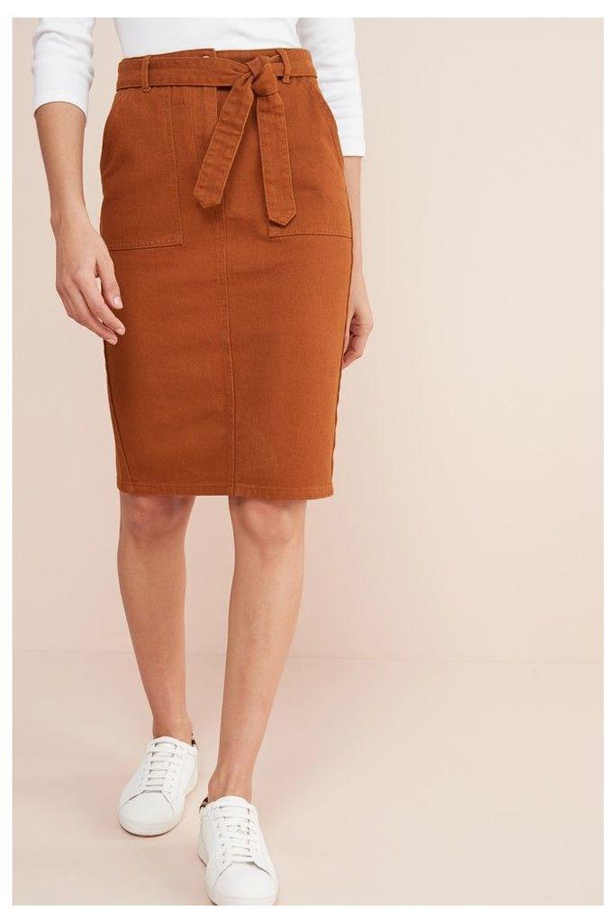 Womens Next Rust Co-ord Denim Pencil Skirt -  Brown