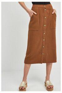 Womens Next Nutmeg Brown Utility Pocket Button Midi Skirt -  Brown