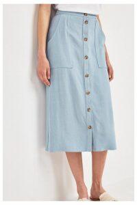 Womens Next Blue Utility Pocket Button Midi Skirt -  Blue