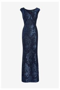 Womens Lauren Ralph Lauren Navy Shaelana Evening Dress -  Blue