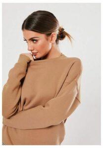 Camel Basic Oversized Sweatshirt, Camel