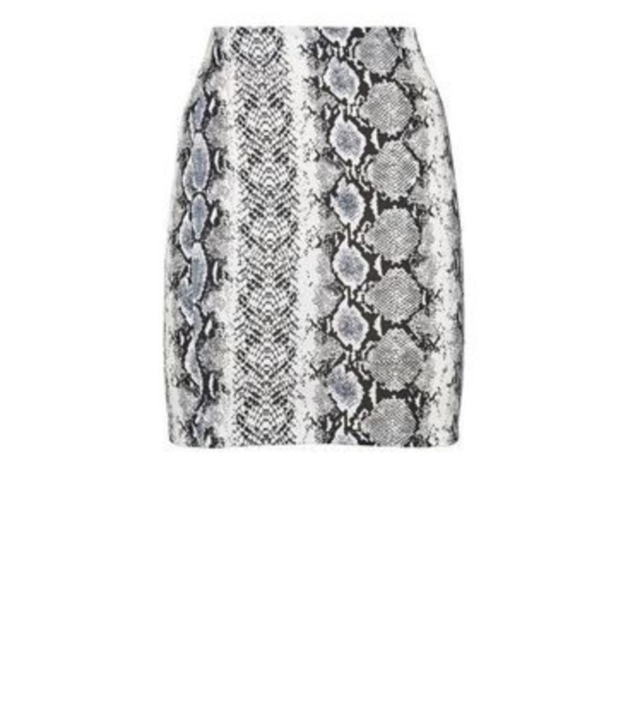 White Snake Print Tube Skirt New Look