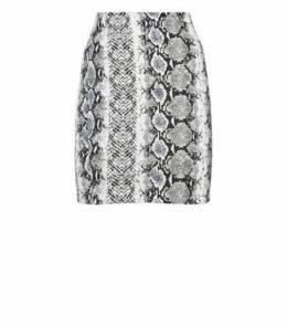 White Snake Print Tube Skirt New Look