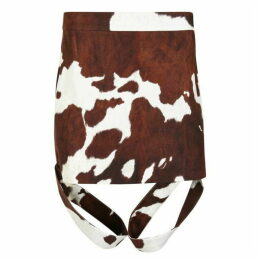 BURBERRY Animal Print Cotton Linen Midi Skirt