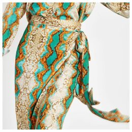 Womens Blue snake print wrap midi skirt