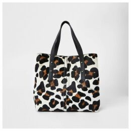 River Island Womens Beige leather leopard print slouch bag