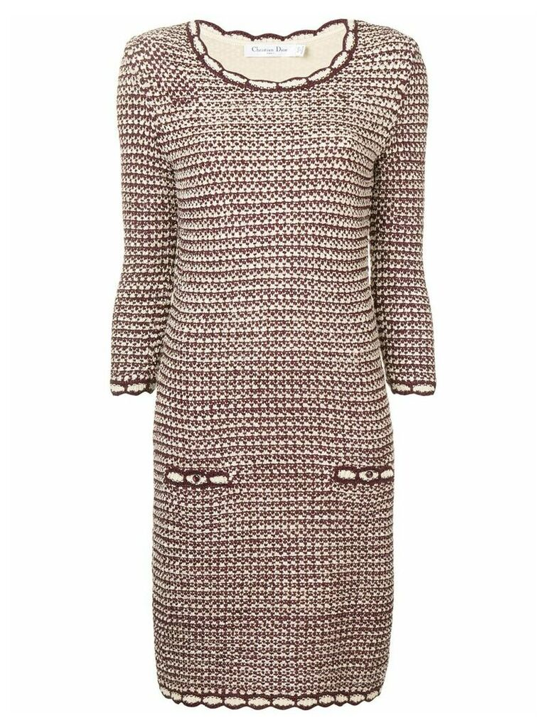 Christian Dior Vintage long sleeved round neck dress - Red