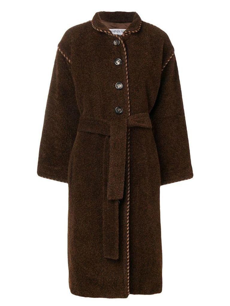 YVES SAINT LAURENT PRE-OWNED long belted coat - Brown