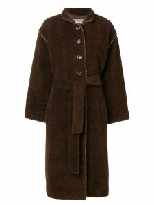 YVES SAINT LAURENT PRE-OWNED long belted coat - Brown