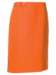 Salvatore Ferragamo Pre-Owned 1980's side slits skirt - ORANGE