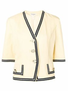 Guy Laroche Pre-Owned 1990's contrast piping jacket - Neutrals