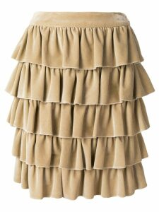 CHANEL PRE-OWNED 2001's ruffled skirt - Neutrals