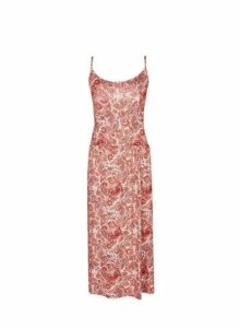 Womens Paisley Print Midi Camisole Dress- Red, Red
