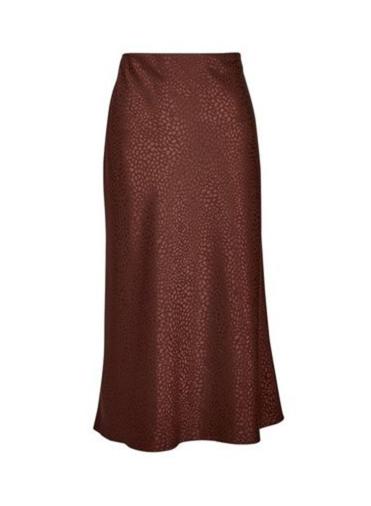 Womens Chocolate Bias Satin Midi Skirt- Brown, Brown