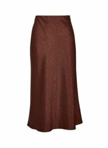 Womens Chocolate Bias Satin Midi Skirt- Brown, Brown