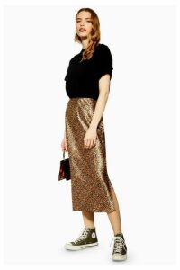Womens Leopard Print Satin Bias Skirt - Tan, Tan