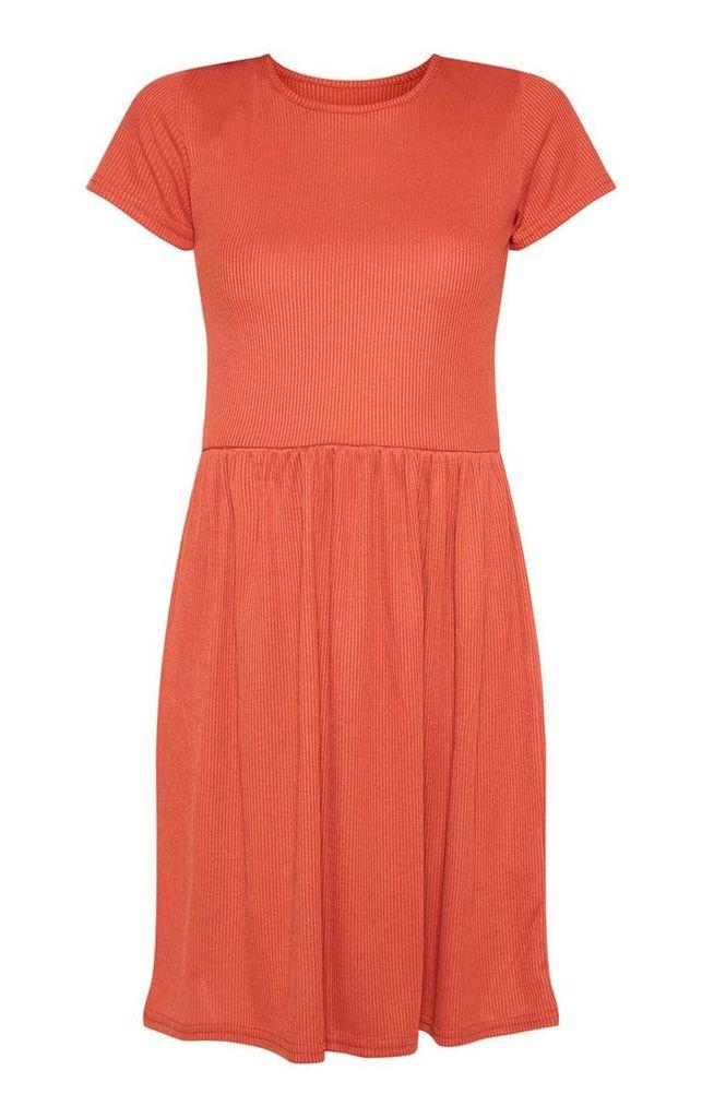 Rust Rib Short Sleeve Smock Dress, Orange