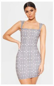 Grey Snake Print Square Neck Bodycon Dress, Grey