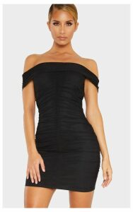 Black Mesh Bardot Ruched Bodycon Dress, Black