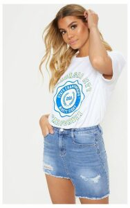 Step Hem Light Wash Denim Skirt, Light Blue Wash