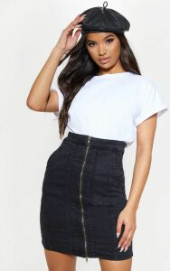 Black Zip Front Seam Detail Midi Skirt, Black