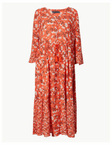 M&S Collection Floral Drawcord Relaxed Midi Dress