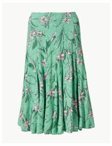 M&S Collection Floral Print Jersey Fit & Flare Skirt