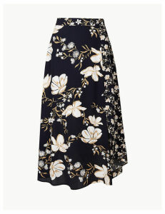 M&S Collection Floral Print Asymmetric Skirt
