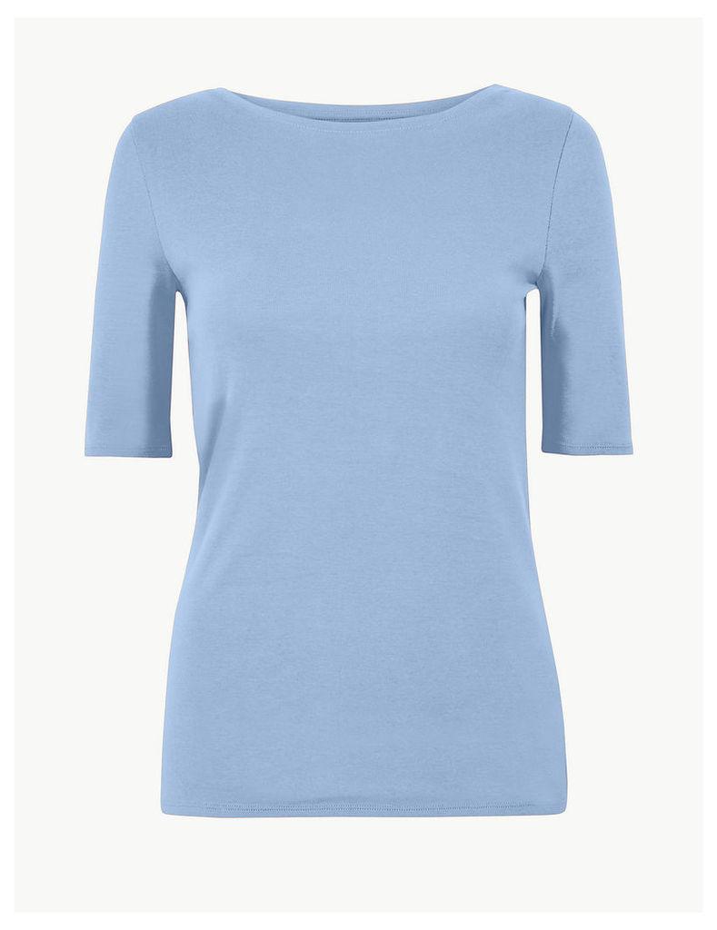 M&S Collection Pure Cotton Slash Neck Regular Fit T-Shirt