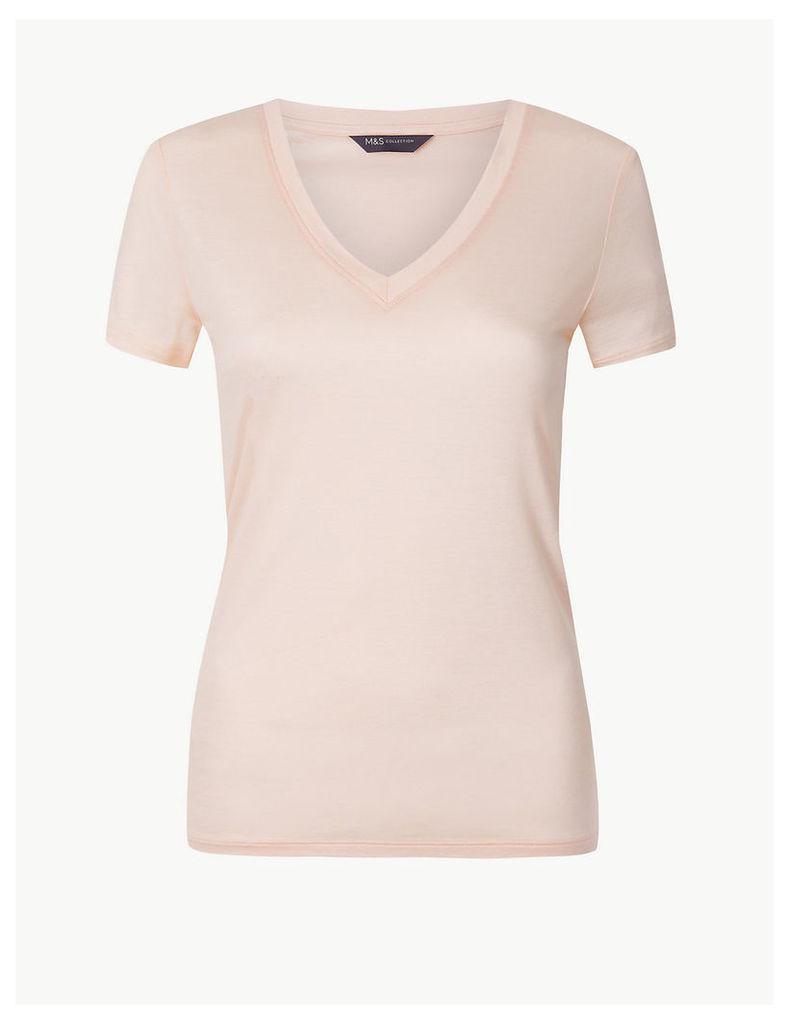 M&S Collection V-Neck Mercerised Short Sleeve T-Shirt