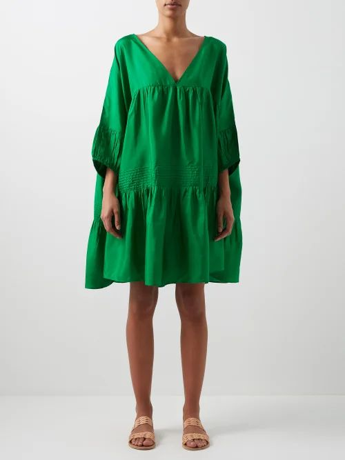 Zazi Vintage - Suzani Embroidered Shearling Lined Coat - Womens - Blue White